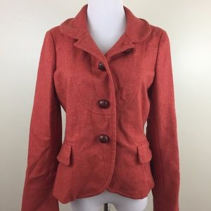 J Crew Women Sz 6 100% Wool Orange Pink Jacket